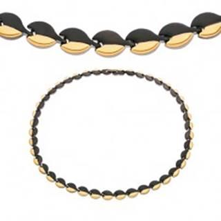 Magnetický náhrdelník z chirurgickej ocele, oblé články čiernej a zlatej farby