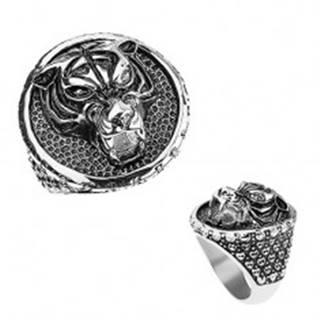 Mohutný prsteň z ocele 316L, tiger s vycerenými zubami, patinovaný - Veľkosť: 57 mm