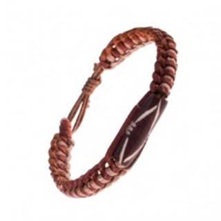 Náramok na ruku z kože - dvojfarebný, pletený, valček s výrezmi AC4.01