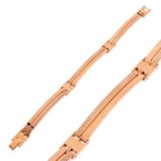 Náramok z chirurgickej ocele medenej farby, úzke články s grécky kľúčom