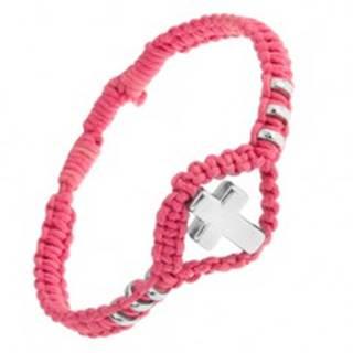Náramok z ružovej tkaniny, ozdobné kolieska a kríž z ocele 304L SP50.14