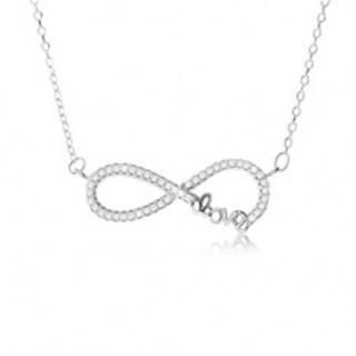 """Nastaviteľný náhrdelník - striebro 925, prívesok znak nekonečna s kamienkami, nápis """"Love"""" SP49.31"""