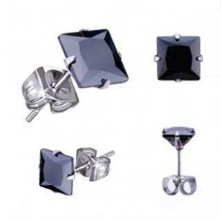 Náušnice z ocele 316L, strieborná farba, čierny zirkónový štvorec, rôzne veľkosti - Veľkosť zirkónu: 3 mm