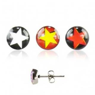 Náušnice z ocele - hviezda - Farba: Červeno-žltá