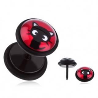 Oceľový fake plug do ucha - sediace čierne mačiatko, červený podklad