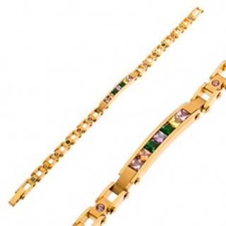 Oceľový náramok v zlatom odtieni, úzka známka a farebné zirkóny