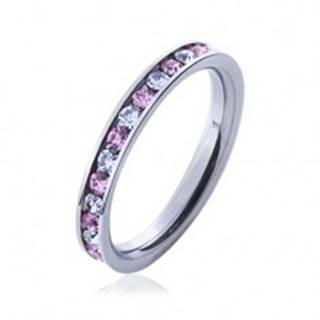 Oceľový prsteň s kamienkami ružovej a čírej farby J7.11 - Veľkosť: 49 mm