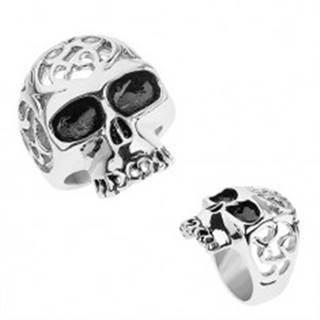 Oceľový prsteň striebornej farby, lebka s ozdobnými výrezmi - Veľkosť: 56 mm