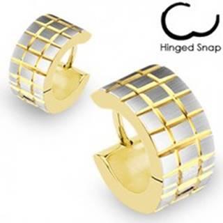 Okrúhle náušnice zlato-striebornej farby - vyryté prekrížené pásy