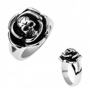 Patinovaný oceľový prsteň, ruža s lebkou v strede, rozdvojené ramená - Veľkosť: 57 mm