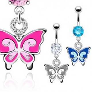 Piercing do brucha - dvojfarebný motýľ, zirkóny - Farba: Aqua modrá