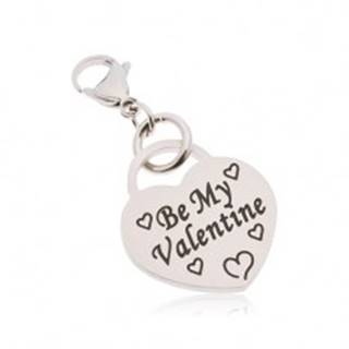 Prívesok na kľúčenku, chirurgická oceľ, srdce s nápisom Be My Valentine AA43.24