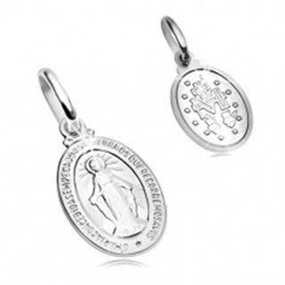 Prívesok z bieleho 14K zlata - oválna známka so symbolmi Panny Márie GG204.10