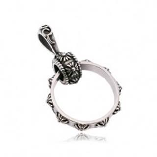 Prívesok z ocele 316L, veľký prstenec zdobený ľaliovými krížmi, patina