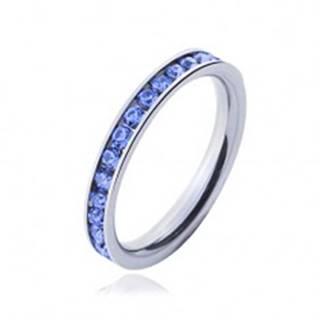 Prsteň z chirurgickej ocele - svetlo-modré kamienky J4.11 - Veľkosť: 49 mm