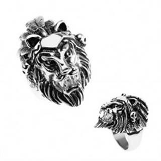 Prsteň z ocele 316L, strieborná farba, hlava leva, čelenka s pierkami, lebky T23.4 - Veľkosť: 56 mm