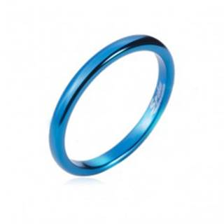 Prsteň z tungstenu - hladká modrá obrúčka, zaoblená, 2 mm - Veľkosť: 47 mm