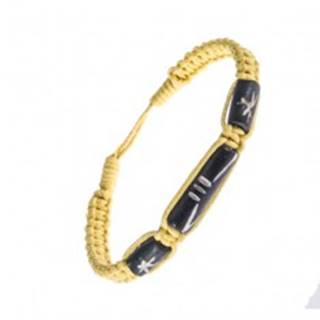 Šnúrkový náramok - pletený, žltá farba, ozdobné korálky