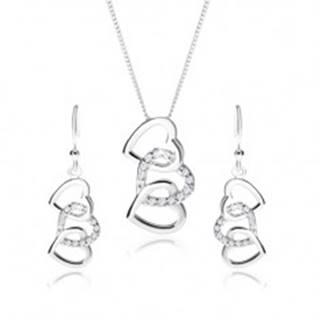 Strieborný set 925, náušnice a náhrdelník - siluety troch prepojených sŕdc, číre zirkóny