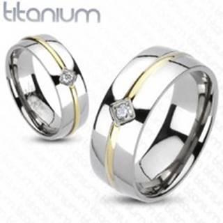 Titánová obrúčka - pásik zlatej farby, zirkón - Veľkosť: 49 mm