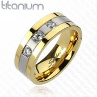 Titánový prsteň - zlato-striebornej farby, tri zirkóny F1.3/4 - Veľkosť: 59 mm