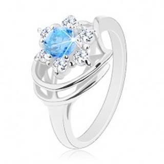 Trblietavý prsteň, modro-číry zirkónový kvietok, lesklé oblúky - Veľkosť: 49 mm