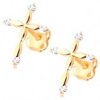 Zlaté diamantové náušnice 585 - latinský krížik, číre brilianty BT502.06