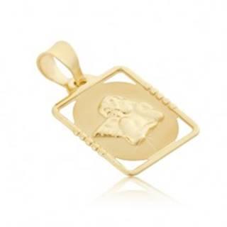 Zlatý 585 prívesok - známka s vystúpeným anjelom v obdĺžnikovom ráme GG01.09