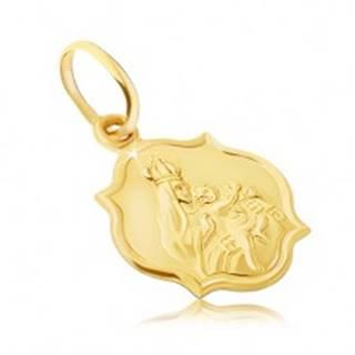 Zlatý prívesok 585 - obojstranná matná známka s Madonou a Kristom GG05.15