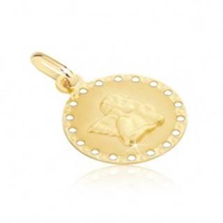 Zlatý prívesok 585 - okrúhla známka s malými otvormi a anjelikom GG01.01