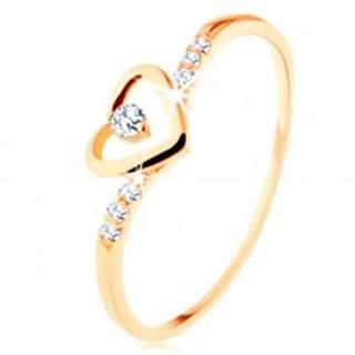 Zlatý prsteň 585, kontúra srdca s čírym zirkónikom, zdobené ramená - Veľkosť: 49 mm