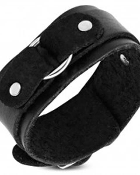 Náramok na ruku z čiernej kože, dvojvrstvový s kruhom S13.20