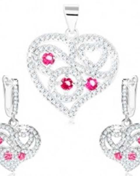 Sada - strieborné náušnice a prívesok 925, číre srdce, špirály, ružové zirkóny