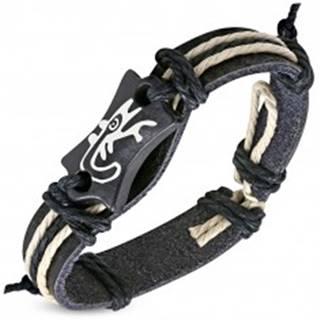 Čierny náramok z umelej kože - známka s motívom jašteričky a šnúrky SP15.31