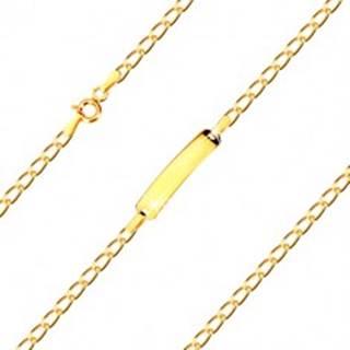 Náramok s platničkou v 14K zlate - zatočené oválne očká, sériové napájanie, 180 mm