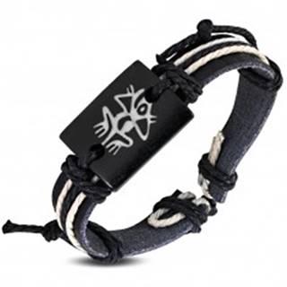 Nastaviteľný náramok čiernej farby so šnúrkami - drevená známka so symbolom žaby