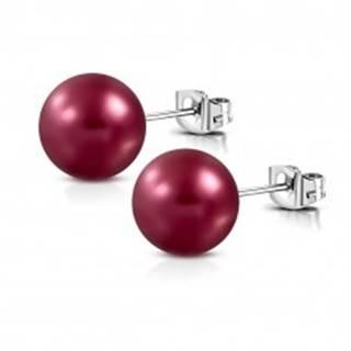 Náušnice z ocele - matná umelá perla bordovej farby, puzetové zapínanie