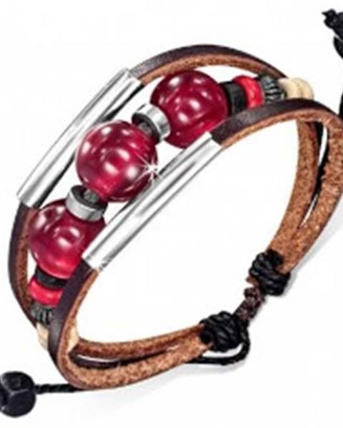 Multináramok - dva čokoládové pásy kože, šnúrka, rúrky, bordové guličky S43.02