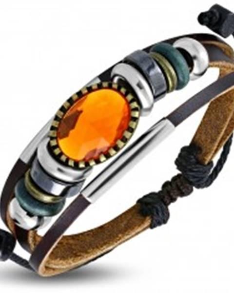 Multináramok - hnedé pásy kože, rôznofarebné korálky, oranžová ozdoba S46.27