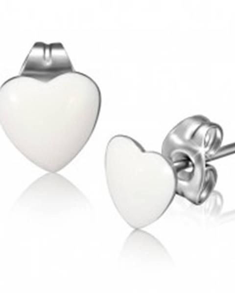 Oceľové náušnice, lesklé biele súmerné srdcia G05.25
