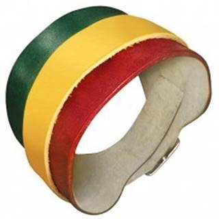 Kožený náramok - zeleno-žlto-červený pás, kovová pracka  AB23.01