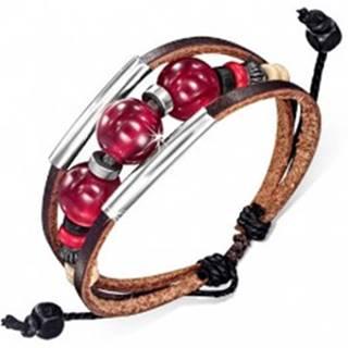 Multináramok - dva čokoládové pásy kože, šnúrka, rúrky, bordové guličky