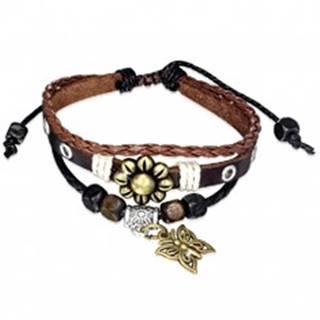 Multináramok - hnedý pás kože, pletenec, šnúrky, kvet a motýľ S45.22