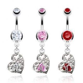 Piercing do bruška z ocele, srdce s filigránovým zdobením, zirkóny - Farba zirkónu: Červená - R