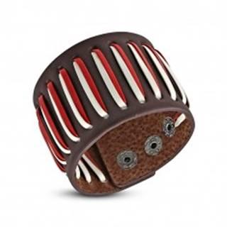 Prešívaný koženkový náramok, šnúrky - biela a červená