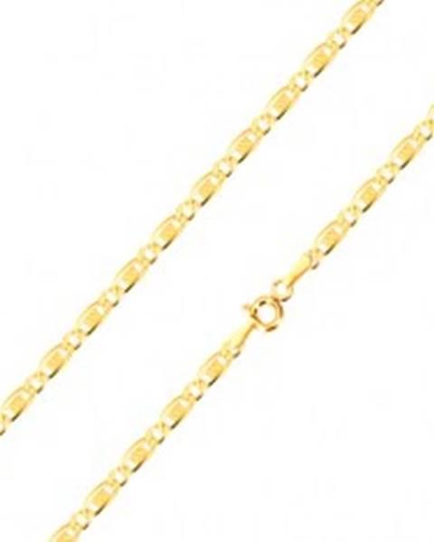 cc674682e Retiazka zo 14K zlata - oválne očko, podlhovasté očko s obdĺžnikom a  mriežkou, 450