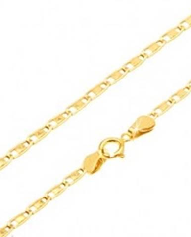 1c549043a Retiazka zo žltého zlata 585 - podlhovasté očká s lesklým obdĺžnikom  uprostred, 450 mm GG187
