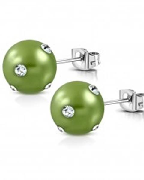 Oceľové náušnice - syntetická akrylová perla v svetlozelenom odtieni, zirkóny