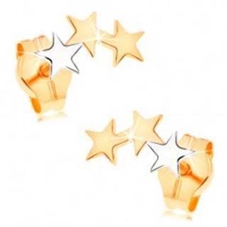 Zlaté náušnice 585 - dve hviezdičky zo žltého a jedna z bieleho zlata
