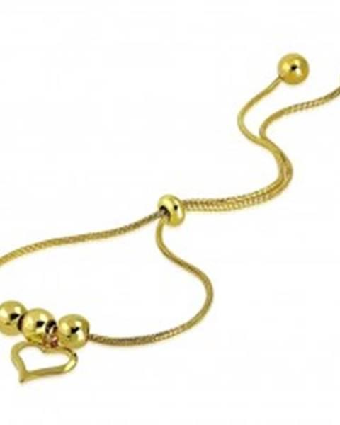 Náramok z ocele v zlatom odtieni - kontúra nepravidelného srdca, guličky SP46.13
